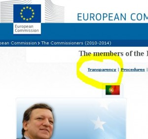 European Commission website has a section called 'Transparency'