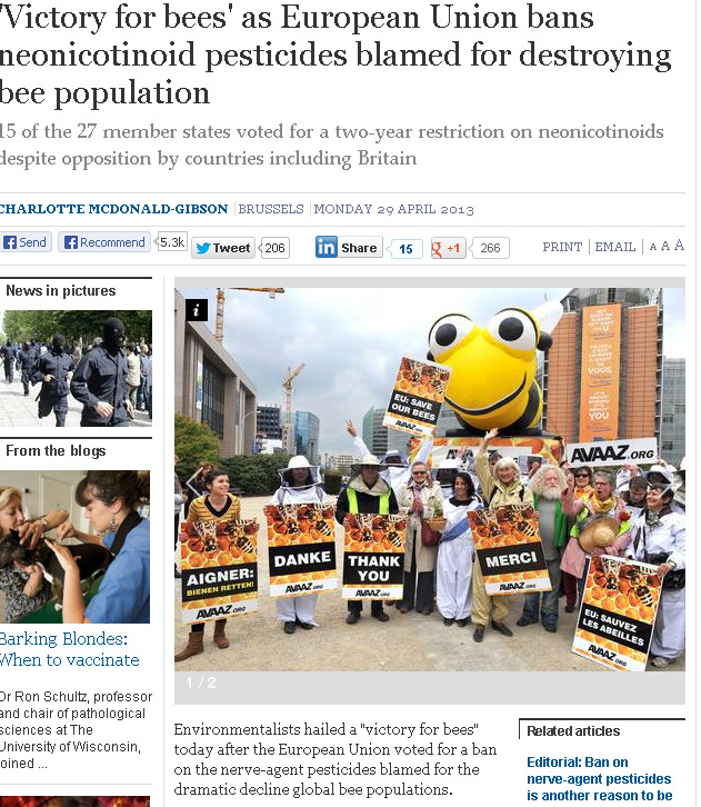 'Victory for bees' as European Union bans neonicotinoid pesticides blamed for destroying bee population - Nature - Environment - The Independent 2013-05-19 14-17-28