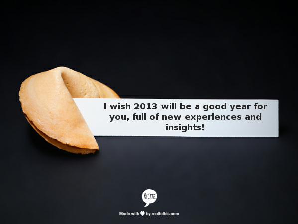 New Year's wish for 2013
